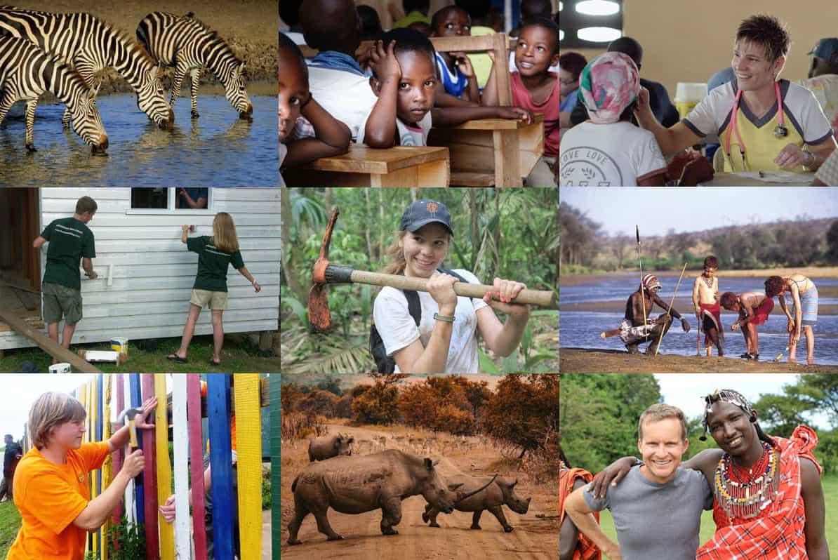 Luxury family volunteer vacation photo collage